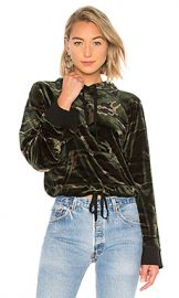 Pam  amp  Gela Velvet Crop Hoodie in Camo Print from Revolve com at Revolve