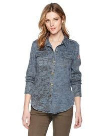 Pam  amp  Gela Women s Printed Camo Shirt at Amazon
