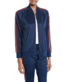 Pam  amp  Gela Zip-Front Track Jacket w  Metallic Stripes at Neiman Marcus