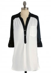 Pam Breeze-ly Tunic in Black and White at ModCloth