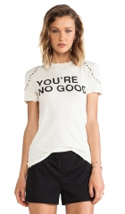 Pam and Gela Youre No Good Distressed Logo Tee in Studded Cream  REVOLVE at Revolve