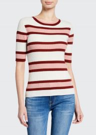 Panel Stripe Ribbed Short-Sleeve Sweater at Bergdorf Goodman