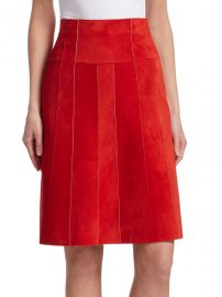 Paneled Suede A-Line Skirt at Saks Fifth Avenue
