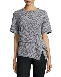 Paneled Braided Jacquard Tee at Neiman Marcus