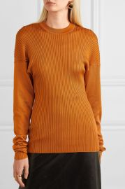 Paneled ribbed silk sweater at Net A Porter