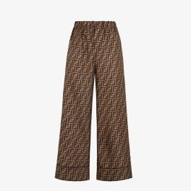 Pants in brown twill at Fendi