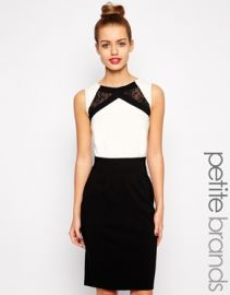 Paper Dolls Petite  Paper Dolls Petite Color Block Pencil Dress With Lace Inserts at Asos