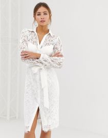 Paper Dolls lace shirt dress with tie waist in white at ASOS