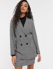 Parisian Petite tailored longline double breasted blazer in gray   ASOS at Asos