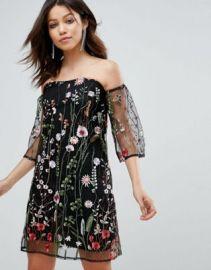 Parisian Off Shoulder Floral Embroidered Dress at asos com at Asos