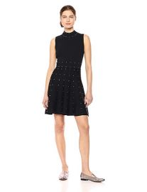 Parker Women s Joy High Neck Fit to Flare Studded Knit Dress at Amazon