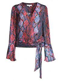 Parker - Isabella Snake-Print Silk-Blend Wrap Blouse at Saks Fifth Avenue