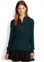 Parker - Leather-Trimmed Silk Georgette Blouse in everglade at Saks Fifth Avenue