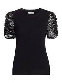 Parker - Tash Sequin Puff-Sleeve Top at Saks Fifth Avenue