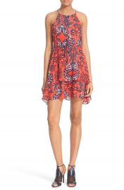 Parker  Dax  Tiered Paisley Silk Fit   Flare Dress at Nordstrom