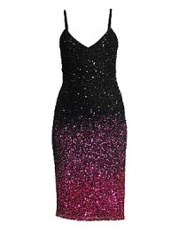 Parker Black - Faith Plunging Beaded Mesh Bodycon Dress at Saks Fifth Avenue