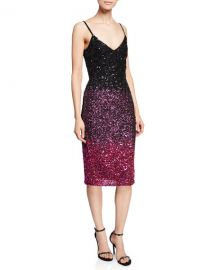 Parker Black Faith V-Neck Spaghetti-Strap Beaded Ombr   Cocktail Dress at Neiman Marcus
