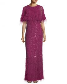 Parker Black Lorena Sequined Feathered Evening Gown   Neiman at Neiman Marcus