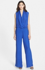 Parker Chase Blouson Silk Jumpsuit in blue at Nordstrom