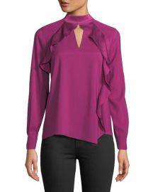 Parker Cianni Draped Ruffle Combo Top at Neiman Marcus