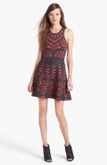 Parker Clarence Knit Fit andamp Flare Dress at Nordstrom
