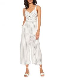 Parker Dominica Striped Sleeveless Wide-Leg Crop Jumpsuit at Neiman Marcus
