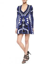 Parker Emperor V-Neck Fit-and-Flare Dress at Neiman Marcus