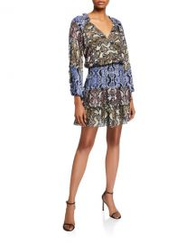 Parker Gladis Python-Print Ruffle Short Dress at Neiman Marcus