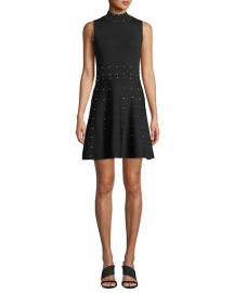 Parker Joy Studded Knit High-Neck Sleeveless Dress at Neiman Marcus
