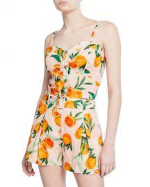 Parker Katarina Orange Sweetheart Linen Crop Top at Neiman Marcus