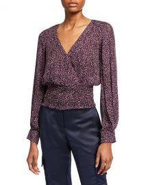 Parker Matilda Printed Smocked Long-Sleeve Blouse at Neiman Marcus