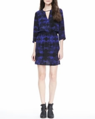 Parker Pennie Printed Keyhole Dress at Neiman Marcus