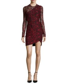 Parker Shadow Long-Sleeve Combo Dress  Poinsettia at Neiman Marcus