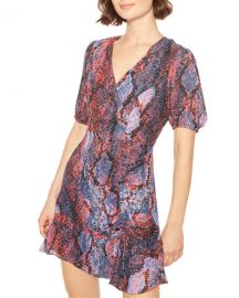 Parker Soliana Snake-Print Short Flounce Dress at Neiman Marcus