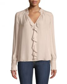 Parker Tilly V-Neck Ruffle Combo Blouse at Neiman Marcus