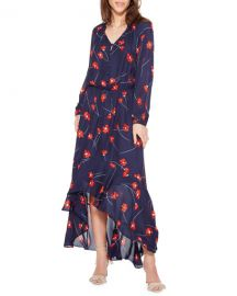 Parker Verity Poppy-Print High-Low Shirt Dress at Neiman Marcus