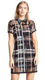 Parker Women s Grayson Short Sleeve Collared Plaid Sequin Mini Dress at Amazon