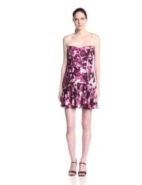 Parker Womenand39s Britney Rosewood Floral Strapless Silk Dress at Amazon