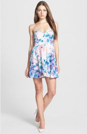 Parker and39Lilyand39 Print Silk Fit andamp Flare Dress at Nordstrom