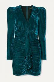 PatBO - Ruched draped stretch-velvet mini dress at Net A Porter