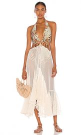 PatBO Palmeira Netted Beach Dress in Sage from Revolve com at Revolve