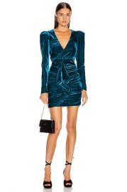 PatBO Velvet Ruched Mini Dress in Azure   FWRD at Forward
