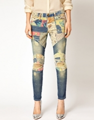 Patched jeans by Current Elliot at Asos