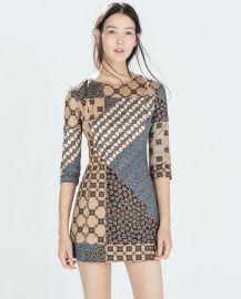 Patchwork Print Dress at Zara