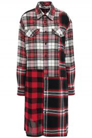 Patchwork-effect checked cotton and wool-blend shirt dress at The Outnet
