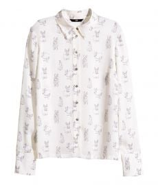 Patterned Blouse in White Rabbits at H&M