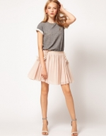 Peach pleated skirt from ASOS at Asos