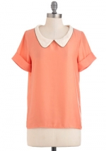 Peach top with white collar at Modcloth