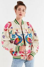 Peacock Paradise Cross-Stitch Bomber Jacket at Urban Outfitters