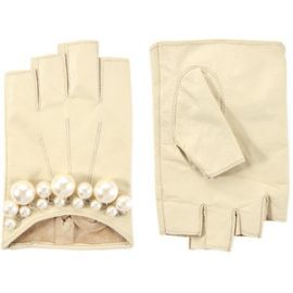 Pearl Detail Leather Gloves at ASOS